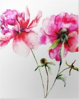 Poster Fleurs de pivoine rouge