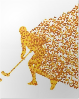 Floorball player vector silhouette made of triangle fragments ve Poster