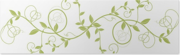 Floral Design Pattern Green Nature Border Background Poster