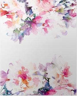Poster Floral fond d'aquarelle. Roses.