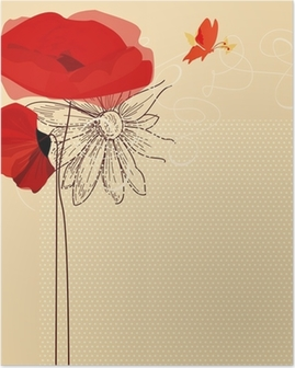 Floral invitation, poppies and butterfly vector Poster