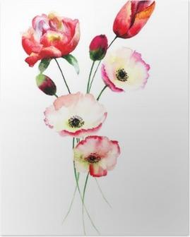 Póster Flores de amapola y tulipanes