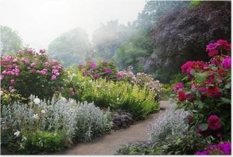Póster Flores del arte en la mañana en un parque Inglés