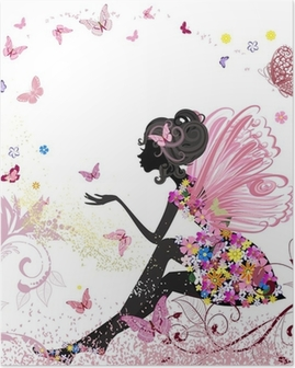 Flower Fairy in the environment of butterflies Poster