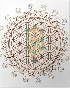 Flower of Life, Tree of Life, Kabbalah, Sephiroth Poster
