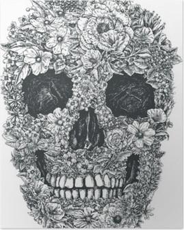Flower Skull Vector Poster