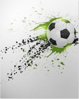 Flying soccer ball Poster