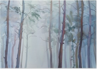 Foggy forest watercolor background Poster
