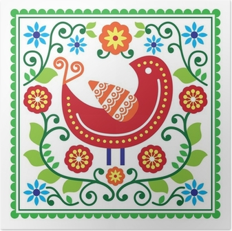 Poster Folk art vektor mönster med fågel och blommor