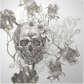 Poster Fond abstrait avec le crâne, Ailes et fleurs