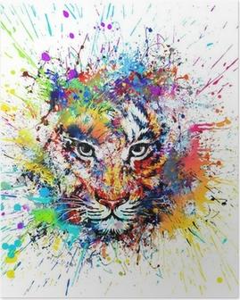 Poster Fond clair avec le tigre