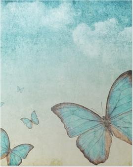 Poster Fond de cru avec un papillon bleu