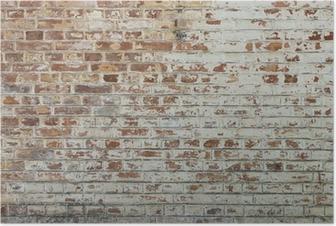 Poster Fond de vieux mur de brique sale vintage avec du plâtre pelage