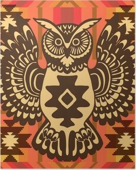 Poster Fond tribal avec hibou