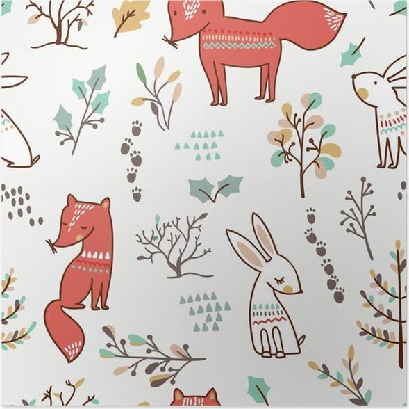 Póster Fondo de bosque de invierno con zorros y conejos. patrón sin ...