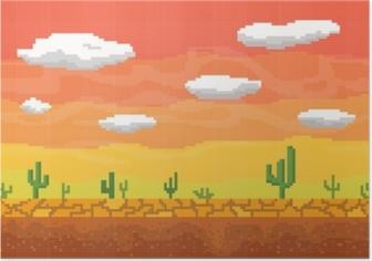 Póster Fondo inconsútil del desierto del arte del pixel.