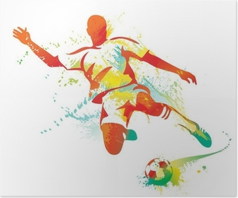 Poster Football joueur botte le ballon. Vector illustration.