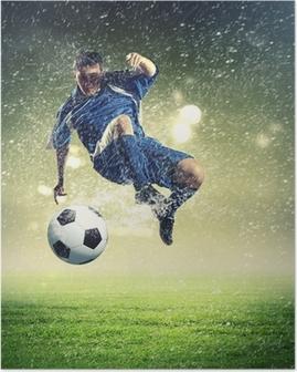 football player striking the ball Poster