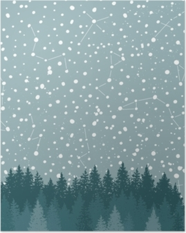 Forest and Night sky with stars vector background. Space backdrop. Poster