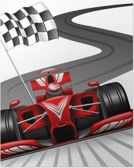 Formula 1 Red Car on Race Track Poster