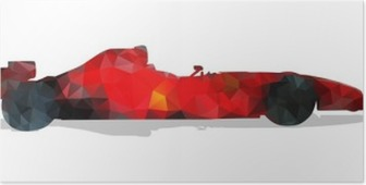 Formula racing car. Red abstract geometric vector illustration. Poster