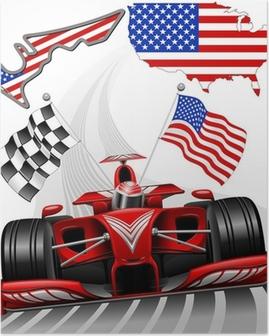 Poster Formule 1 Race Car GP Austin États-Unis