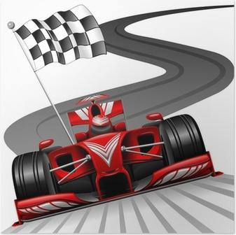 Poster Formule 1 voiture rouge sur Race Track