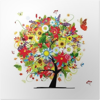 Four seasons concept. Art tree for your design Poster