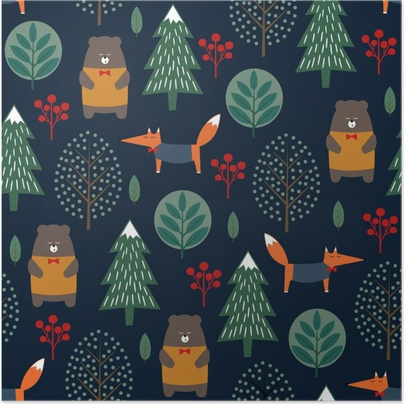 Christmas Scandinavian Style Nature Illustration Winter Forest With Animals And Xmas Tree Design For Textile Wallpaper Fabric Poster