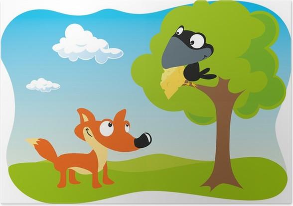 Poster Fox Et Le Corbeau Avec Du Fromage Tenant Dans Le Bec Pixers