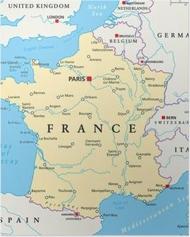 Poster Frankrike Karta Och Ord Moln Med Storre Stader Pixers Vi Lever For Forandring