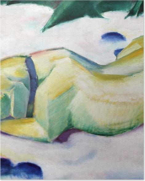 Poster Franz Marc - Chien couché dans la neige - Reproductions