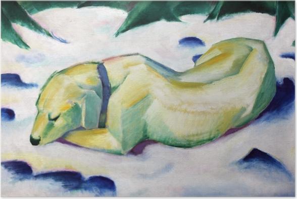 Póster Franz Marc - Perro tumbado en la nieve - Reproductions