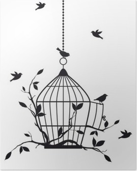free birds with open birdcage, vector Poster
