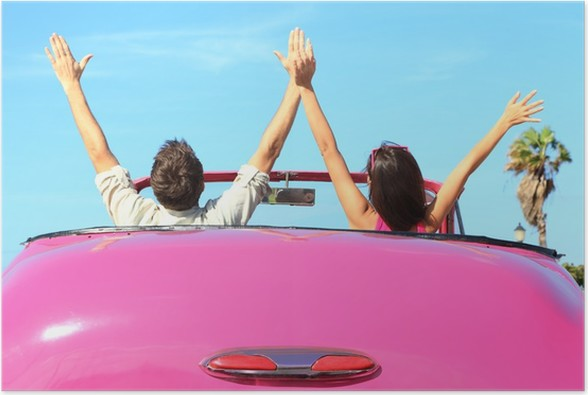 freedom happy free couple in car poster holidays