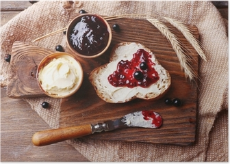 Fresh bread with homemade butter and blackcurrant jam Poster