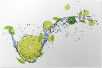 Fresh limes in water splash, isolated on white background Poster