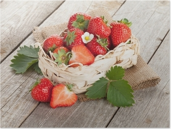 Fresh strawberry in basket Poster
