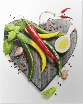 Fresh vegetables on heart shaped cutting board Poster