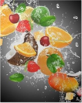 Poster Fruit met opspattend water