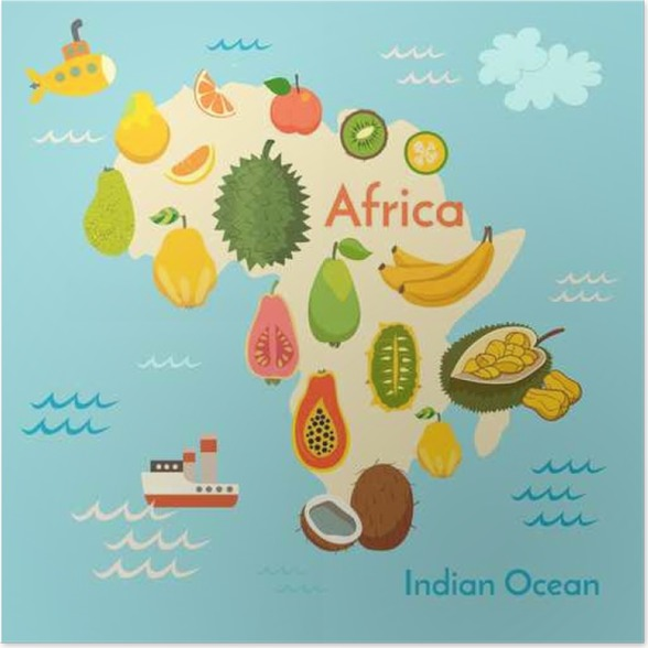 Fruit world map africa vector illustration preschool baby fruit world map africa vector illustration preschool baby continents oceans gumiabroncs Image collections