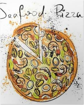 Poster Fruits de mer à pizza, dessiné à la craie sur un tableau noir,