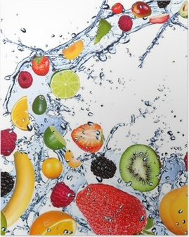 Fruits falling in water splash, isolated on white background Poster