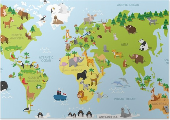 Funny cartoon world map with traditional animals of all the funny cartoon world map with traditional animals of all the continents and oceans vector illustration for preschool education and kids design poster gumiabroncs Image collections