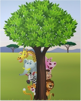 Funny safari animal cartoon Poster