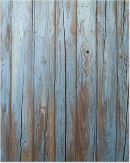 Poster Gamla blå trä vägg