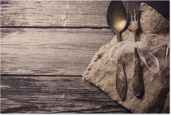 Poster Gamla gaffel och sked på trä bakgrund