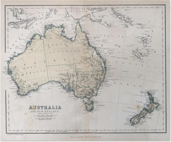 australien gammal karta Poster Gammal karta av Australien • Pixers®   Vi lever för förändring australien gammal karta