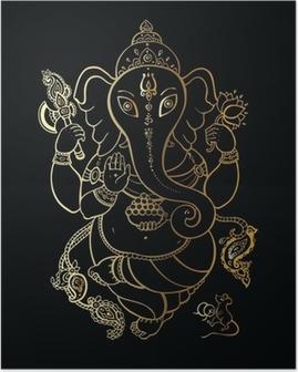 Poster Ganesha Hand getrokken illustratie.