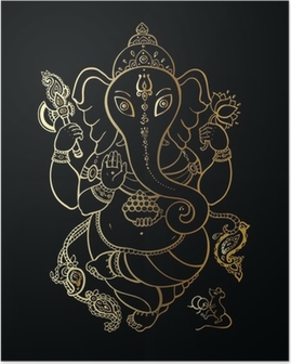 Poster Ganesha Illustration à main levée.